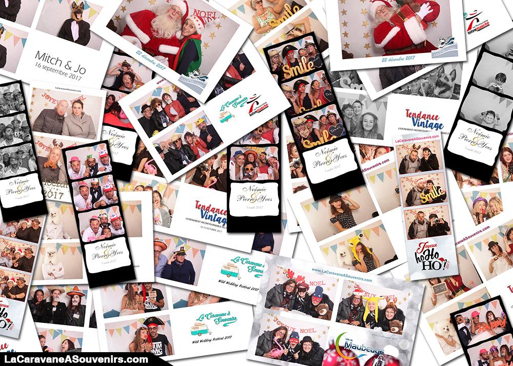 Exemples de tirages lors de nos soirées photobooth avec la caravane à souvenirs
